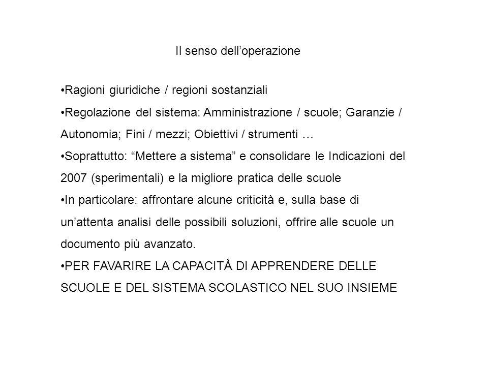 Il senso dell'operazione Ragioni giuridiche / regioni sostanziali Regolazione del sistema: Amministrazione / scuole; Garanzie / Autonomia; Fini / mezz