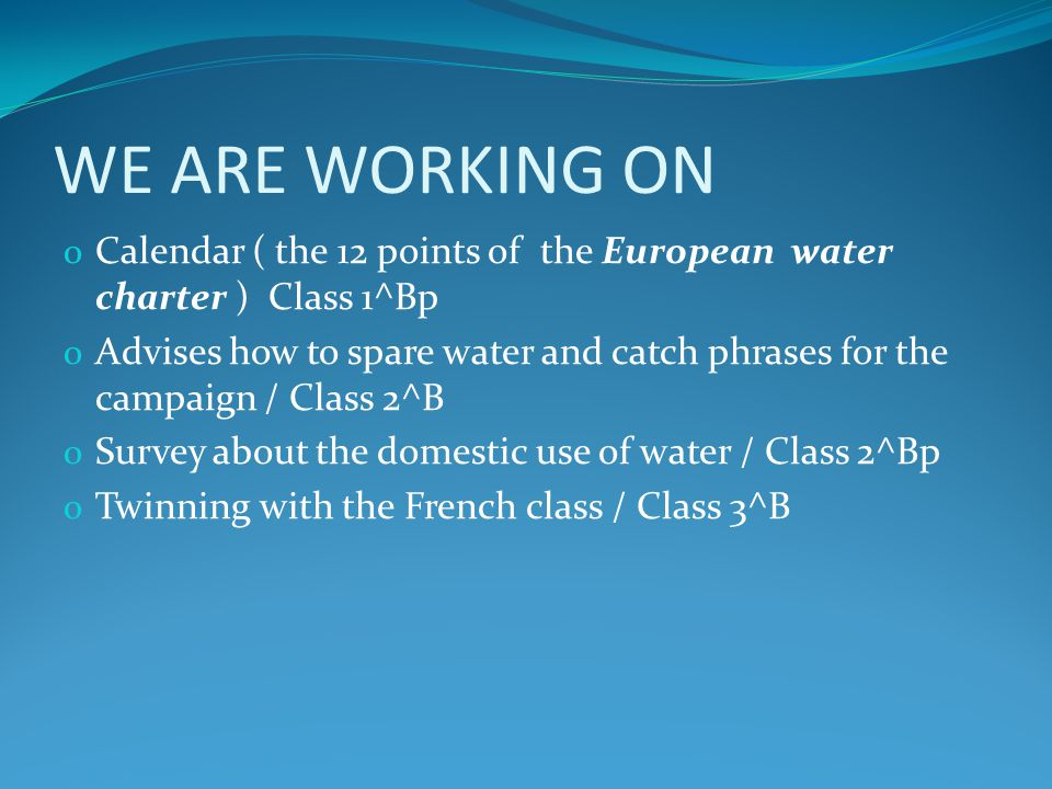 WE ARE WORKING ON o Calendar ( the 12 points of the European water charter ) Class 1^Bp o Advises how to spare water and catch phrases for the campaig