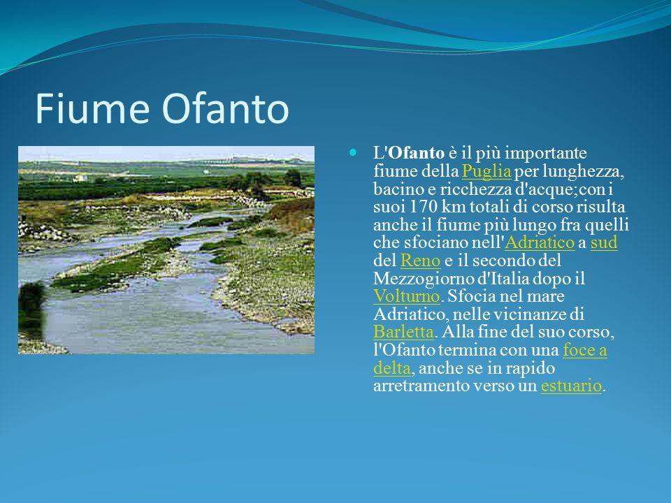 Fiume Ofanto L'Ofanto è il più importante fiume della Puglia per lunghezza, bacino e ricchezza d'acque;con i suoi 170 km totali di corso risulta anche