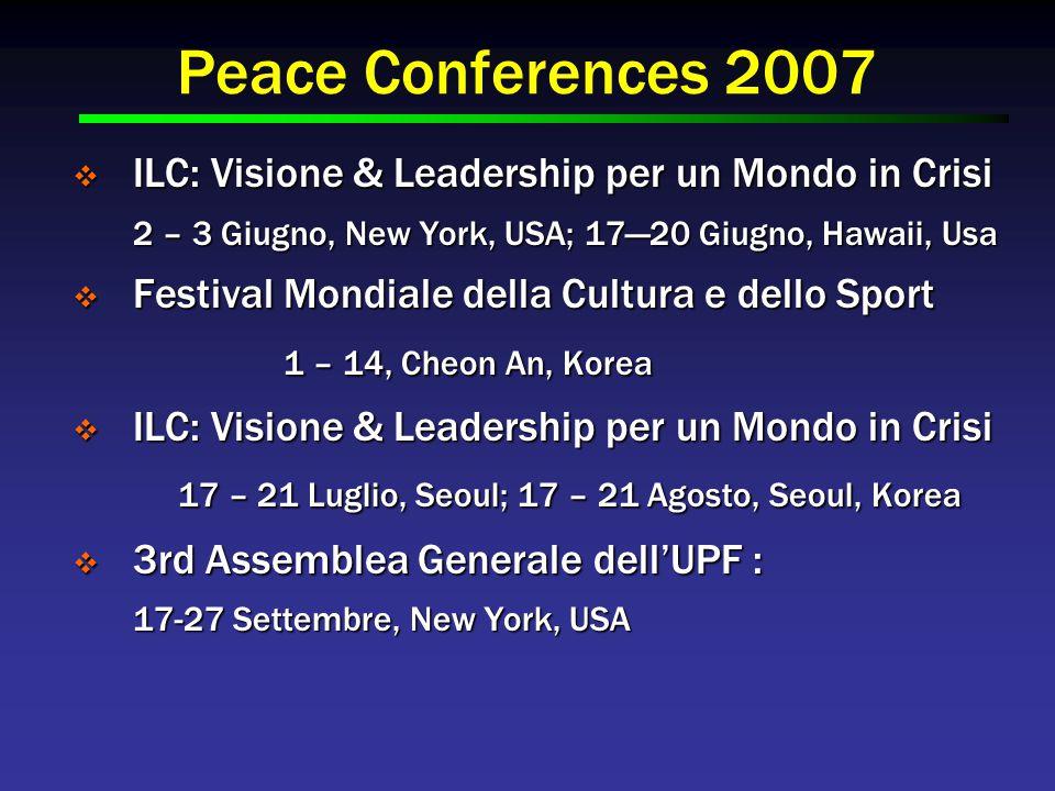 Peace Conferences 2007  ILC: Visione & Leadership per un Mondo in Crisi 2 – 3 Giugno, New York, USA; 17—20 Giugno, Hawaii, Usa  Festival Mondiale della Cultura e dello Sport 1 – 14, Cheon An, Korea  ILC: Visione & Leadership per un Mondo in Crisi 17 – 21 Luglio, Seoul; 17 – 21 Agosto, Seoul, Korea  3rd Assemblea Generale dell'UPF : 17-27 Settembre, New York, USA