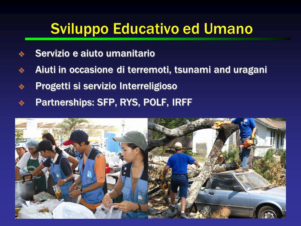 Sviluppo Educativo ed Umano  Servizio e aiuto umanitario  Aiuti in occasione di terremoti, tsunami and uragani  Progetti si servizio Interreligioso  Partnerships: SFP, RYS, POLF, IRFF