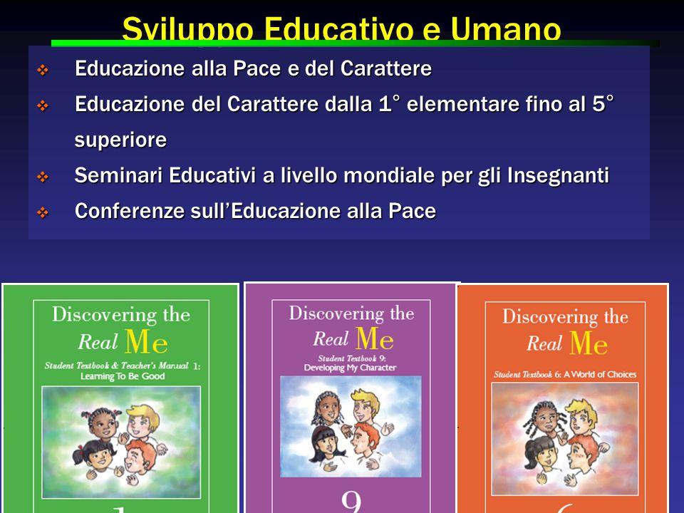 Sviluppo Educativo e Umano  Educazione alla Pace e del Carattere  Educazione del Carattere dalla 1° elementare fino al 5° superiore  Seminari Educativi a livello mondiale per gli Insegnanti  Conferenze sull'Educazione alla Pace