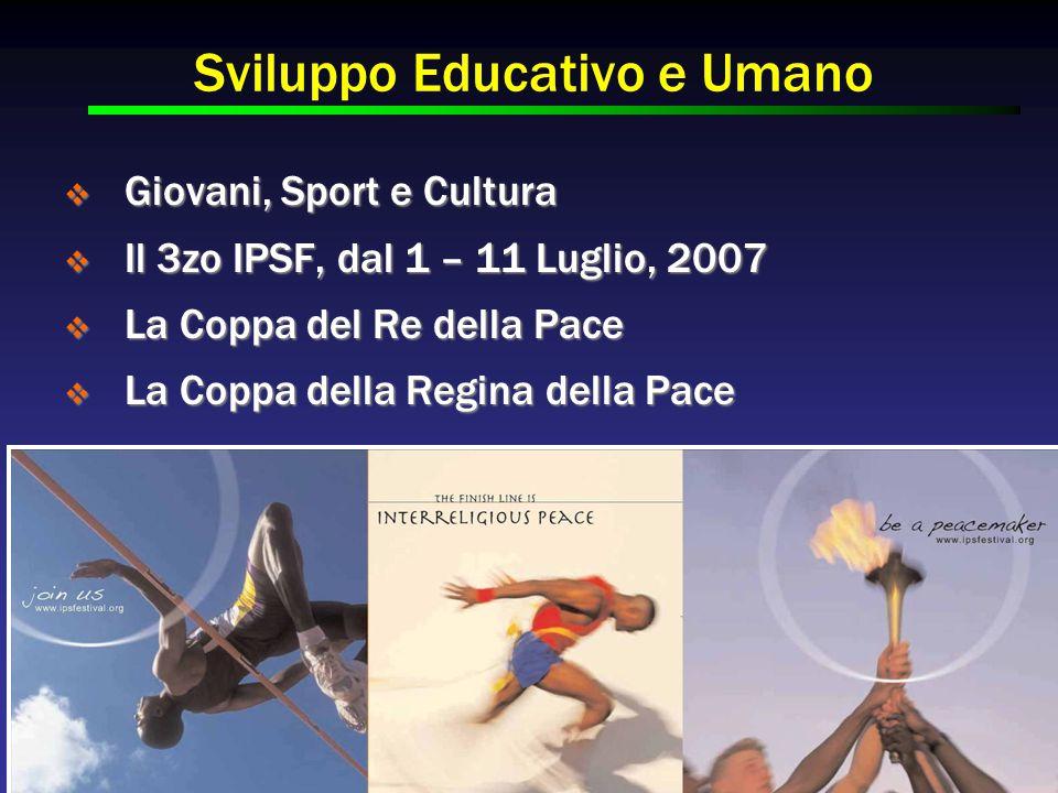 Sviluppo Educativo e Umano  Giovani, Sport e Cultura  Il 3zo IPSF, dal 1 – 11 Luglio, 2007  La Coppa del Re della Pace  La Coppa della Regina della Pace
