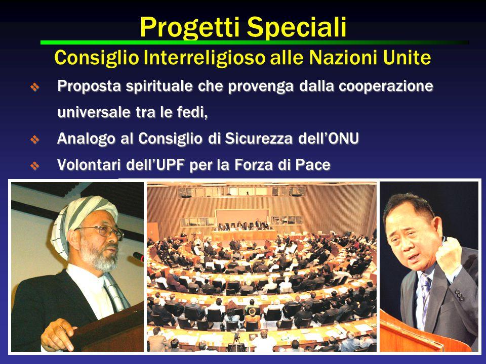 Progetti Speciali Consiglio Interreligioso alle Nazioni Unite  Proposta spirituale che provenga dalla cooperazione universale tra le fedi,  Analogo al Consiglio di Sicurezza dell'ONU  Volontari dell'UPF per la Forza di Pace