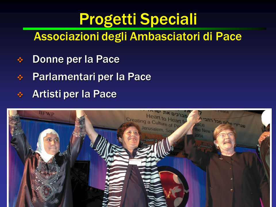 Progetti Speciali Associazioni degli Ambasciatori di Pace  Donne per la Pace  Parlamentari per la Pace  Artisti per la Pace