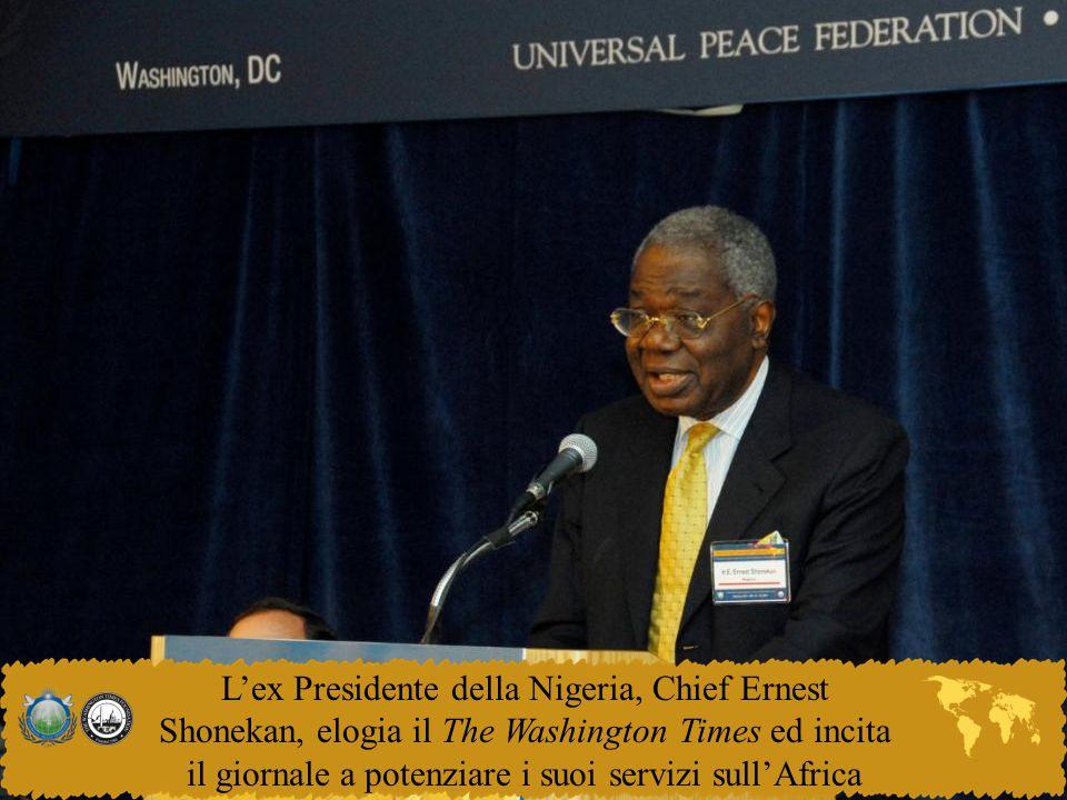 L'ex Presidente della Nigeria, Chief Ernest Shonekan, elogia il The Washington Times ed incita il giornale a potenziare i suoi servizi sull'Africa