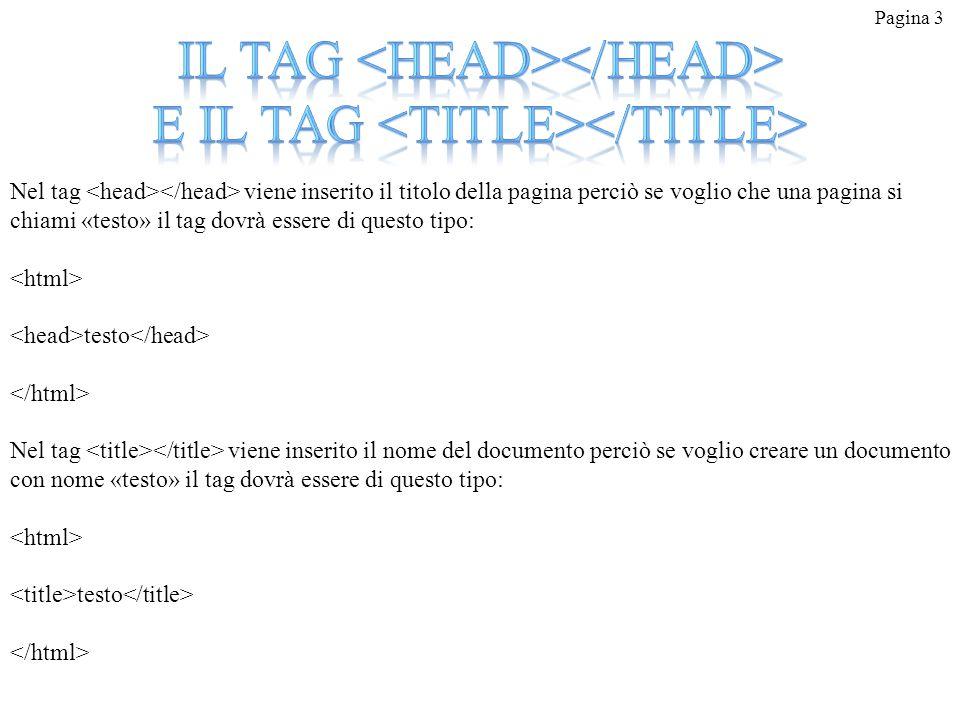 Pagina 3 Nel tag viene inserito il titolo della pagina perciò se voglio che una pagina si chiami «testo» il tag dovrà essere di questo tipo: testo Nel