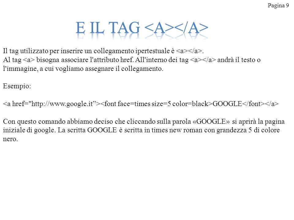 Pagina 9 Il tag utilizzato per inserire un collegamento ipertestuale è. Al tag bisogna associare l'attributo href. All'interno dei tag andrà il testo