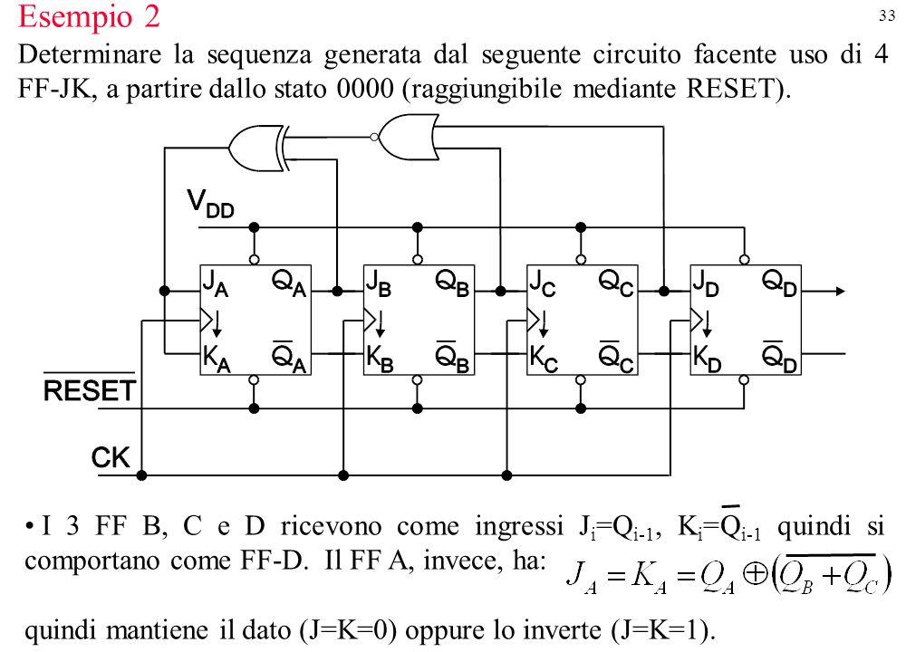 33 Esempio 2 Determinare la sequenza generata dal seguente circuito facente uso di 4 FF-JK, a partire dallo stato 0000 (raggiungibile mediante RESET).