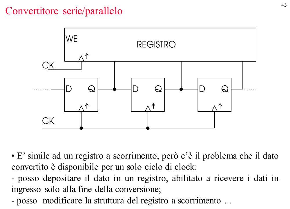 43 Convertitore serie/parallelo E' simile ad un registro a scorrimento, però c'è il problema che il dato convertito è disponibile per un solo ciclo di