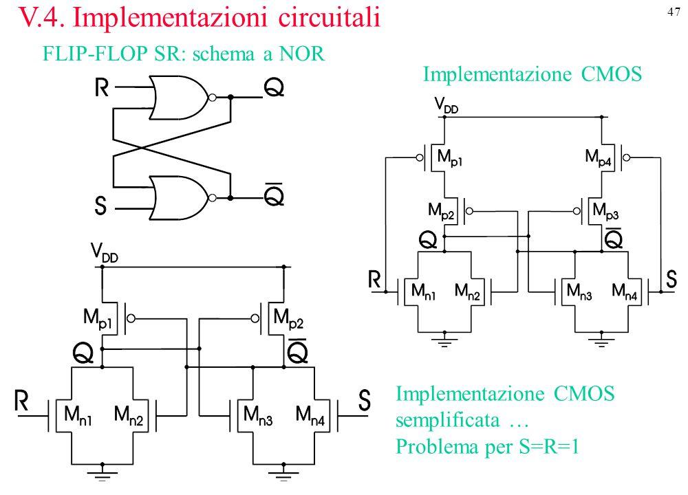 47 V.4. Implementazioni circuitali FLIP-FLOP SR: schema a NOR Implementazione CMOS Implementazione CMOS semplificata … Problema per S=R=1