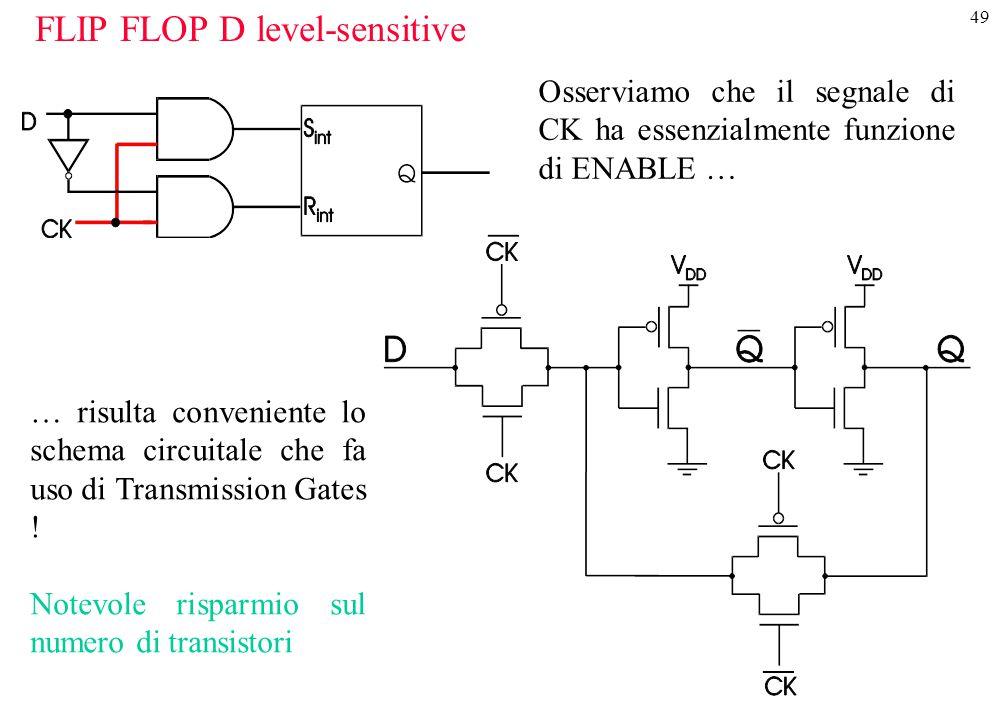 49 FLIP FLOP D level-sensitive Osserviamo che il segnale di CK ha essenzialmente funzione di ENABLE … … risulta conveniente lo schema circuitale che f