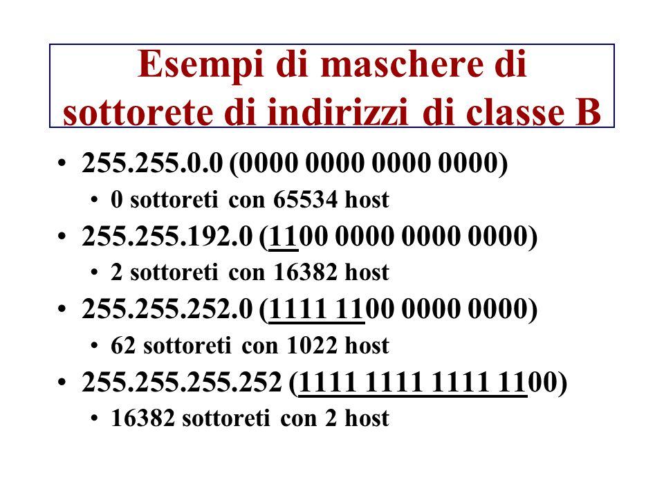 Esempi di maschere di sottorete di indirizzi di classe B 255.255.0.0 (0000 0000 0000 0000) 0 sottoreti con 65534 host 255.255.192.0 (1100 0000 0000 00