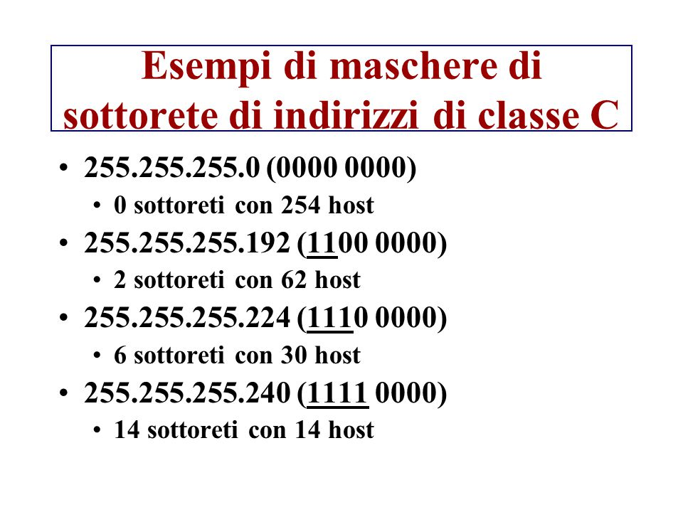 Esempi di maschere di sottorete di indirizzi di classe C 255.255.255.0 (0000 0000) 0 sottoreti con 254 host 255.255.255.192 (1100 0000) 2 sottoreti co
