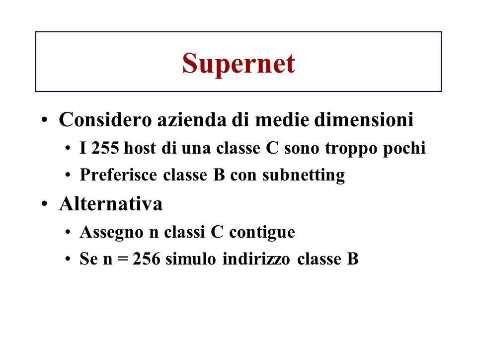 Supernet Considero azienda di medie dimensioni I 255 host di una classe C sono troppo pochi Preferisce classe B con subnetting Alternativa Assegno n c