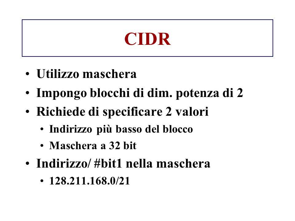 CIDR Utilizzo maschera Impongo blocchi di dim. potenza di 2 Richiede di specificare 2 valori Indirizzo più basso del blocco Maschera a 32 bit Indirizz