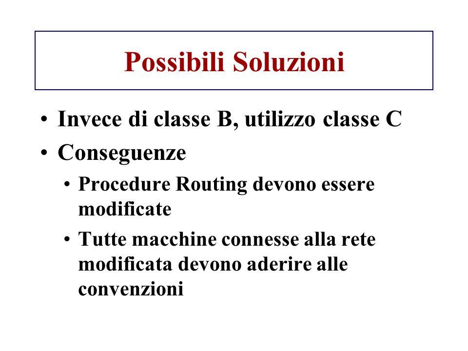 Possibili Soluzioni Invece di classe B, utilizzo classe C Conseguenze Procedure Routing devono essere modificate Tutte macchine connesse alla rete mod