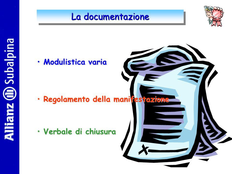 La documentazione Modulistica varia Regolamento della manifestazione Verbale di chiusura
