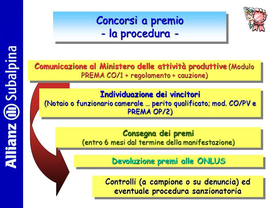 Concorsi a premio - la procedura - Concorsi a premio - la procedura - Comunicazione al Ministero delle attività produttive (Modulo PREMA CO/1 + regolamento + cauzione) Comunicazione al Ministero delle attività produttive produttive (Modulo PREMA CO/1 + regolamento + cauzione) Individuazione dei vincitori (Notaio o funzionario camerale … perito qualificato; mod.