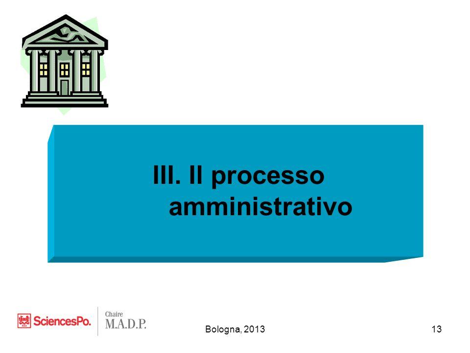 Bologna, 201313 III. Il processo amministrativo