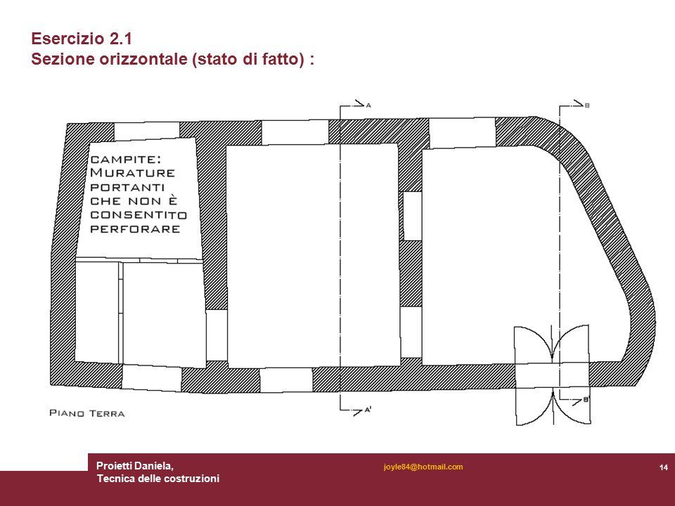 Proietti Daniela, Tecnica delle costruzioni 14 joyle84@hotmail.com Esercizio 2.1 Sezione orizzontale (stato di fatto) :