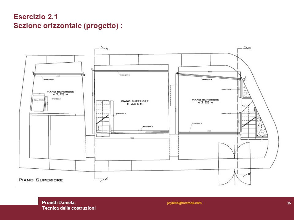 Proietti Daniela, Tecnica delle costruzioni 15 joyle84@hotmail.com Esercizio 2.1 Sezione orizzontale (progetto) :