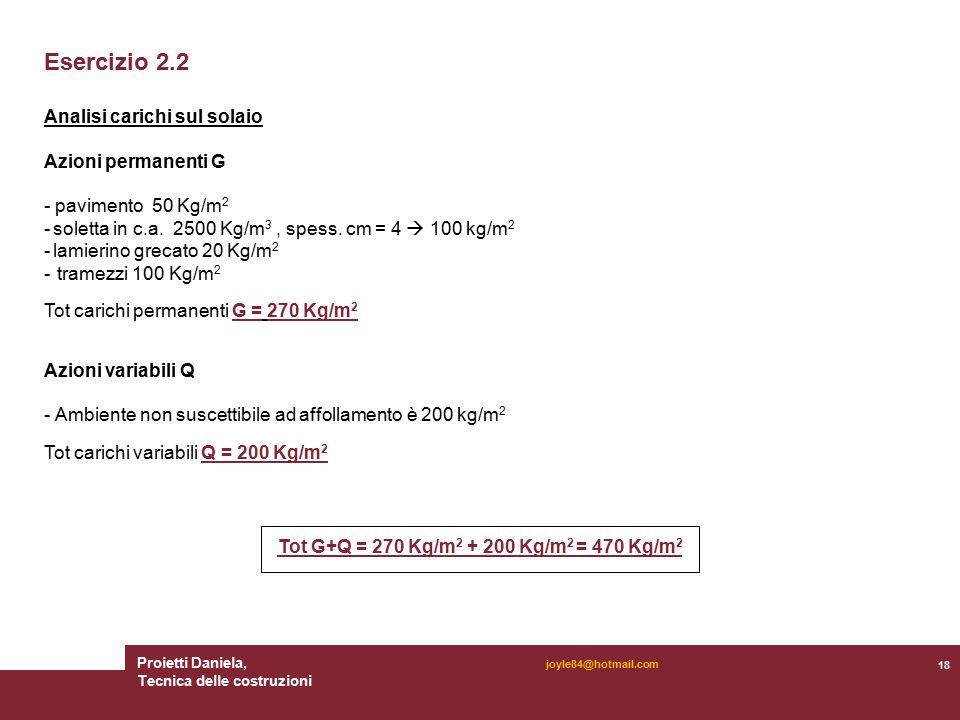 Proietti Daniela, Tecnica delle costruzioni 18 joyle84@hotmail.com Esercizio 2.2 Analisi carichi sul solaio Azioni permanenti G - pavimento 50 Kg/m 2 - soletta in c.a.