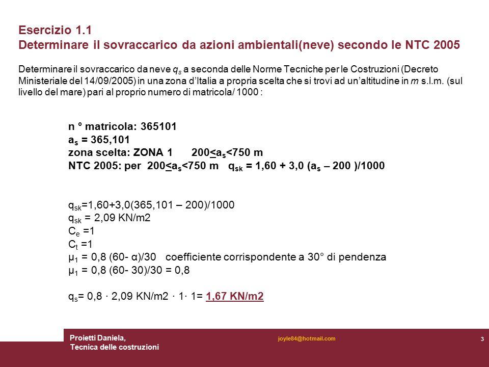 Proietti Daniela, Tecnica delle costruzioni 3 joyle84@hotmail.com Esercizio 1.1 Determinare il sovraccarico da azioni ambientali(neve) secondo le NTC