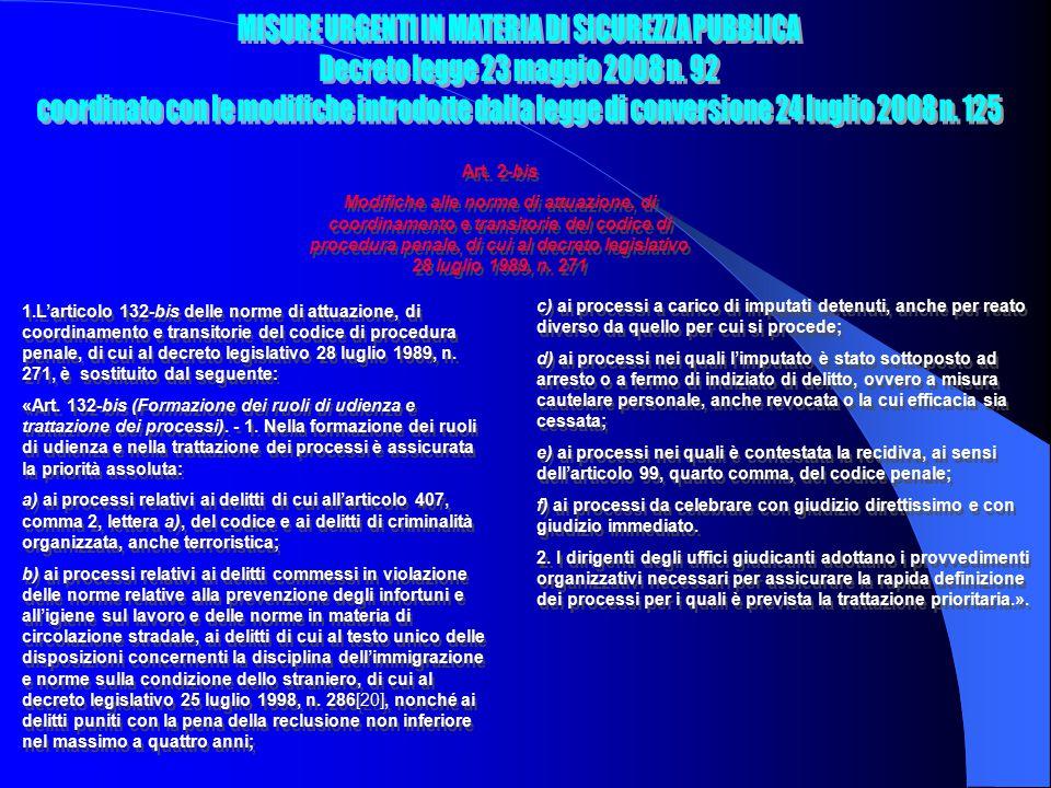 Art. 2-bis Modifiche alle norme di attuazione, di coordinamento e transitorie del codice di procedura penale, di cui al decreto legislativo 28 luglio