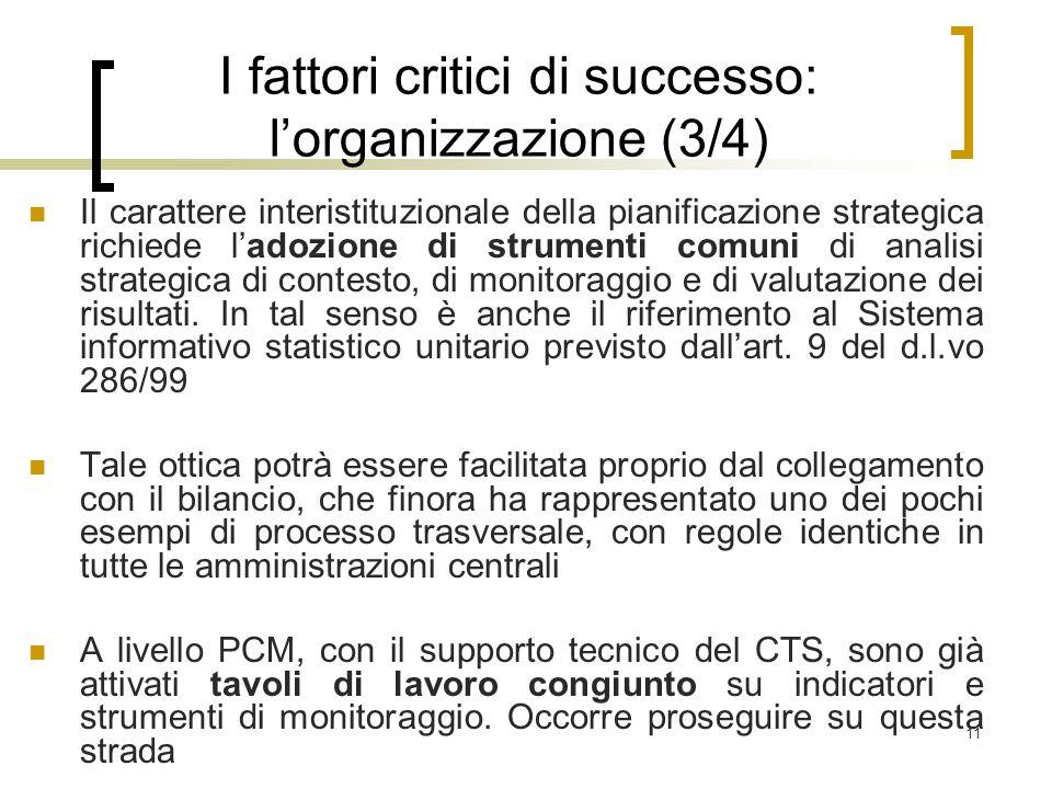 11 I fattori critici di successo: l'organizzazione (3/4) Il carattere interistituzionale della pianificazione strategica richiede l'adozione di strumenti comuni di analisi strategica di contesto, di monitoraggio e di valutazione dei risultati.