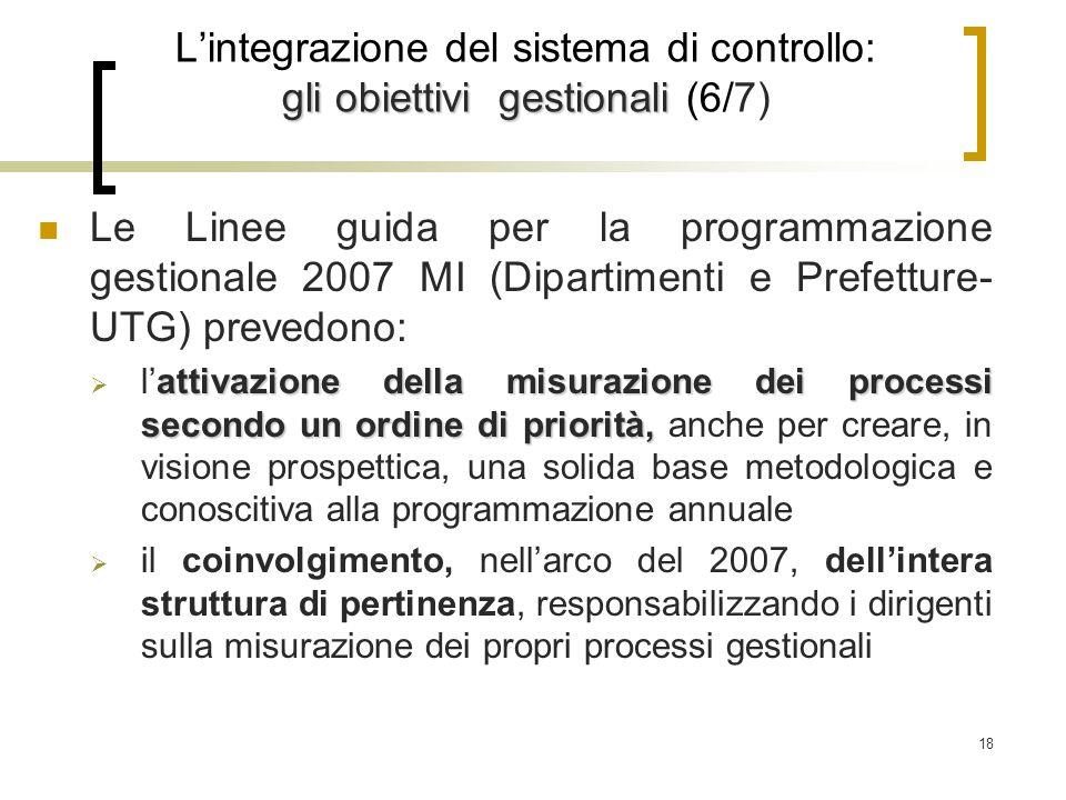 18 gli obiettivi gestionali L'integrazione del sistema di controllo: gli obiettivi gestionali (6/7) Le Linee guida per la programmazione gestionale 2007 MI (Dipartimenti e Prefetture- UTG) prevedono: attivazione della misurazione dei processi secondo un ordine di priorità,  l'attivazione della misurazione dei processi secondo un ordine di priorità, anche per creare, in visione prospettica, una solida base metodologica e conoscitiva alla programmazione annuale  il coinvolgimento, nell'arco del 2007, dell'intera struttura di pertinenza, responsabilizzando i dirigenti sulla misurazione dei propri processi gestionali