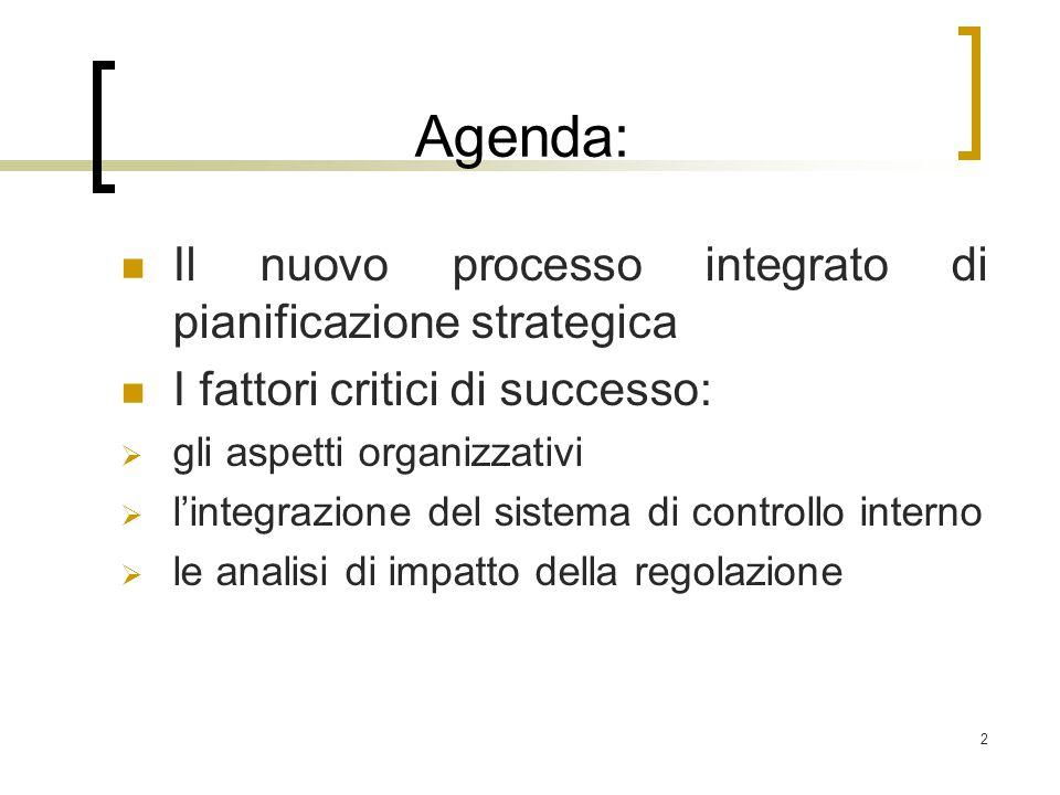 2 Agenda: Il nuovo processo integrato di pianificazione strategica I fattori critici di successo:  gli aspetti organizzativi  l'integrazione del sistema di controllo interno  le analisi di impatto della regolazione