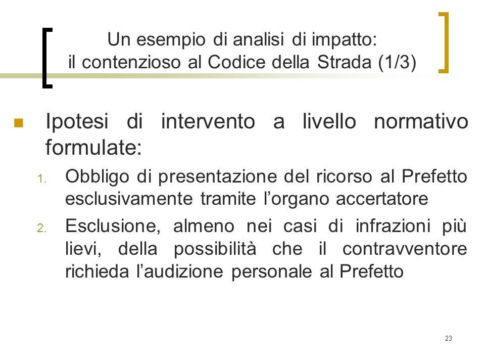 23 Un esempio di analisi di impatto: il contenzioso al Codice della Strada (1/3) Ipotesi di intervento a livello normativo formulate: 1.