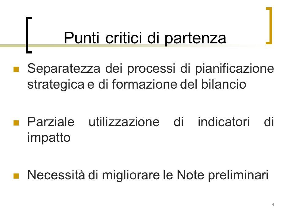 4 Punti critici di partenza Separatezza dei processi di pianificazione strategica e di formazione del bilancio Parziale utilizzazione di indicatori di impatto Necessità di migliorare le Note preliminari