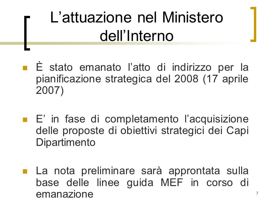 7 L'attuazione nel Ministero dell'Interno È stato emanato l'atto di indirizzo per la pianificazione strategica del 2008 (17 aprile 2007) E' in fase di completamento l'acquisizione delle proposte di obiettivi strategici dei Capi Dipartimento La nota preliminare sarà approntata sulla base delle linee guida MEF in corso di emanazione