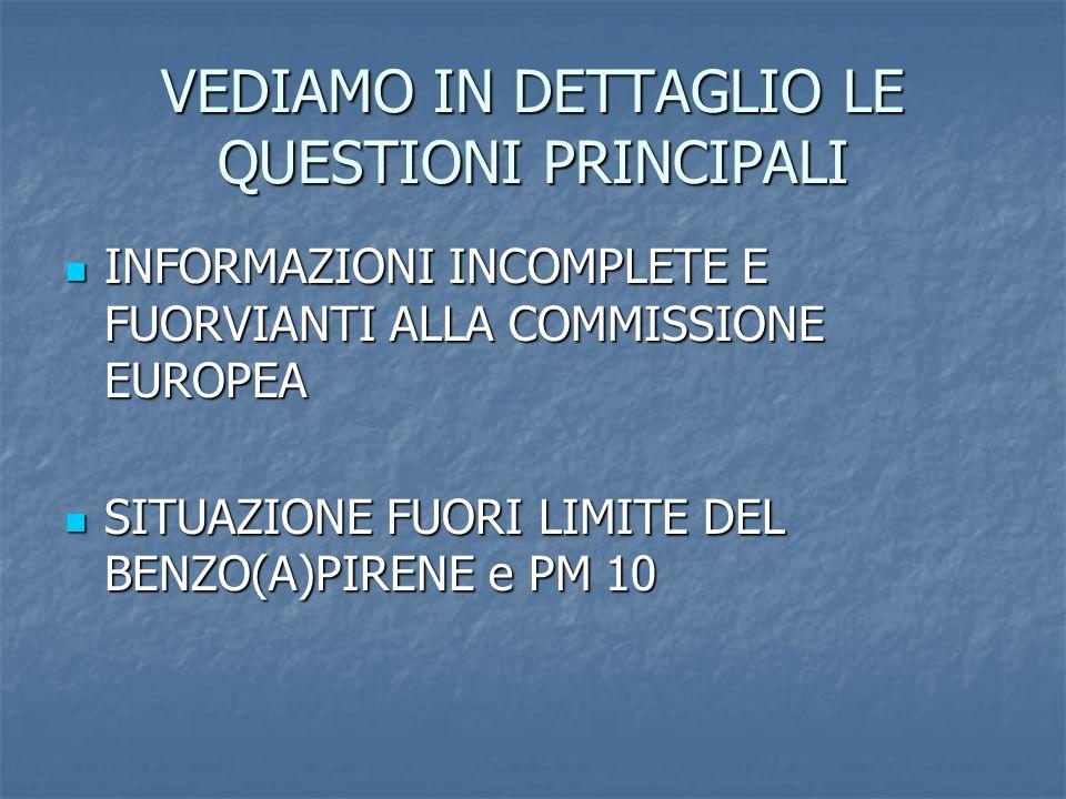 VEDIAMO IN DETTAGLIO LE QUESTIONI PRINCIPALI INFORMAZIONI INCOMPLETE E FUORVIANTI ALLA COMMISSIONE EUROPEA INFORMAZIONI INCOMPLETE E FUORVIANTI ALLA COMMISSIONE EUROPEA SITUAZIONE FUORI LIMITE DEL BENZO(A)PIRENE e PM 10 SITUAZIONE FUORI LIMITE DEL BENZO(A)PIRENE e PM 10