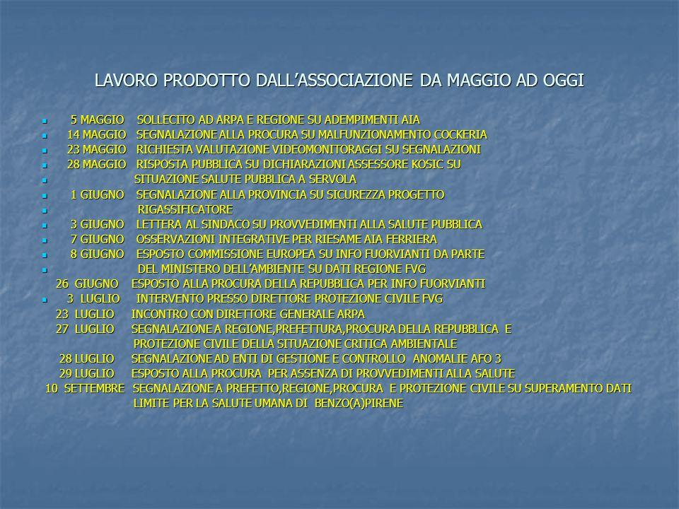 LAVORO PRODOTTO DALL'ASSOCIAZIONE DA MAGGIO AD OGGI 5 MAGGIO SOLLECITO AD ARPA E REGIONE SU ADEMPIMENTI AIA 5 MAGGIO SOLLECITO AD ARPA E REGIONE SU ADEMPIMENTI AIA 14 MAGGIO SEGNALAZIONE ALLA PROCURA SU MALFUNZIONAMENTO COCKERIA 14 MAGGIO SEGNALAZIONE ALLA PROCURA SU MALFUNZIONAMENTO COCKERIA 23 MAGGIO RICHIESTA VALUTAZIONE VIDEOMONITORAGGI SU SEGNALAZIONI 23 MAGGIO RICHIESTA VALUTAZIONE VIDEOMONITORAGGI SU SEGNALAZIONI 28 MAGGIO RISPOSTA PUBBLICA SU DICHIARAZIONI ASSESSORE KOSIC SU 28 MAGGIO RISPOSTA PUBBLICA SU DICHIARAZIONI ASSESSORE KOSIC SU SITUAZIONE SALUTE PUBBLICA A SERVOLA SITUAZIONE SALUTE PUBBLICA A SERVOLA 1 GIUGNO SEGNALAZIONE ALLA PROVINCIA SU SICUREZZA PROGETTO 1 GIUGNO SEGNALAZIONE ALLA PROVINCIA SU SICUREZZA PROGETTO RIGASSIFICATORE RIGASSIFICATORE 3 GIUGNO LETTERA AL SINDACO SU PROVVEDIMENTI ALLA SALUTE PUBBLICA 3 GIUGNO LETTERA AL SINDACO SU PROVVEDIMENTI ALLA SALUTE PUBBLICA 7 GIUGNO OSSERVAZIONI INTEGRATIVE PER RIESAME AIA FERRIERA 7 GIUGNO OSSERVAZIONI INTEGRATIVE PER RIESAME AIA FERRIERA 8 GIUGNO ESPOSTO COMMISSIONE EUROPEA SU INFO FUORVIANTI DA PARTE 8 GIUGNO ESPOSTO COMMISSIONE EUROPEA SU INFO FUORVIANTI DA PARTE DEL MINISTERO DELL'AMBIENTE SU DATI REGIONE FVG DEL MINISTERO DELL'AMBIENTE SU DATI REGIONE FVG 26 GIUGNO ESPOSTO ALLA PROCURA DELLA REPUBBLICA PER INFO FUORVIANTI 26 GIUGNO ESPOSTO ALLA PROCURA DELLA REPUBBLICA PER INFO FUORVIANTI 3 LUGLIO INTERVENTO PRESSO DIRETTORE PROTEZIONE CIVILE FVG 3 LUGLIO INTERVENTO PRESSO DIRETTORE PROTEZIONE CIVILE FVG 23 LUGLIO INCONTRO CON DIRETTORE GENERALE ARPA 23 LUGLIO INCONTRO CON DIRETTORE GENERALE ARPA 27 LUGLIO SEGNALAZIONE A REGIONE,PREFETTURA,PROCURA DELLA REPUBBLICA E 27 LUGLIO SEGNALAZIONE A REGIONE,PREFETTURA,PROCURA DELLA REPUBBLICA E PROTEZIONE CIVILE DELLA SITUAZIONE CRITICA AMBIENTALE PROTEZIONE CIVILE DELLA SITUAZIONE CRITICA AMBIENTALE 28 LUGLIO SEGNALAZIONE AD ENTI DI GESTIONE E CONTROLLO ANOMALIE AFO 3 28 LUGLIO SEGNALAZIONE AD ENTI DI GESTIONE E CONTROLLO ANOMALIE AFO 3 29 LUGLIO 