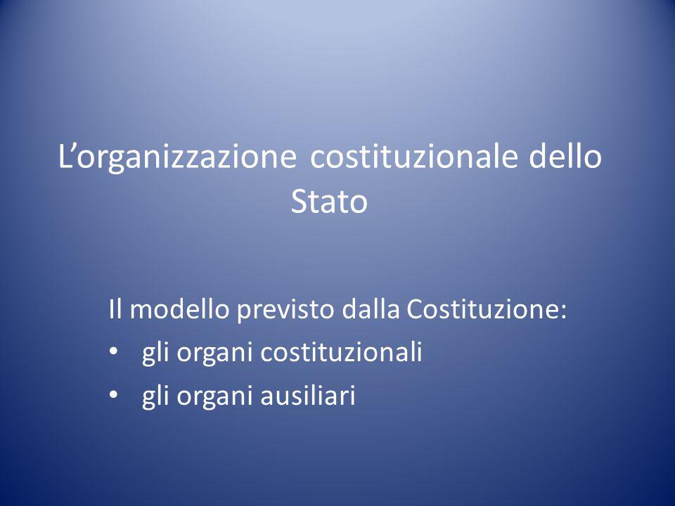 L'organizzazione costituzionale dello Stato Il modello previsto dalla Costituzione: gli organi costituzionali gli organi ausiliari
