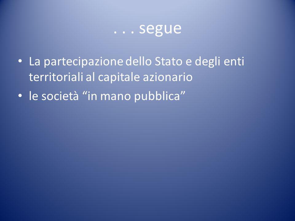 """... segue La partecipazione dello Stato e degli enti territoriali al capitale azionario le società """"in mano pubblica"""""""