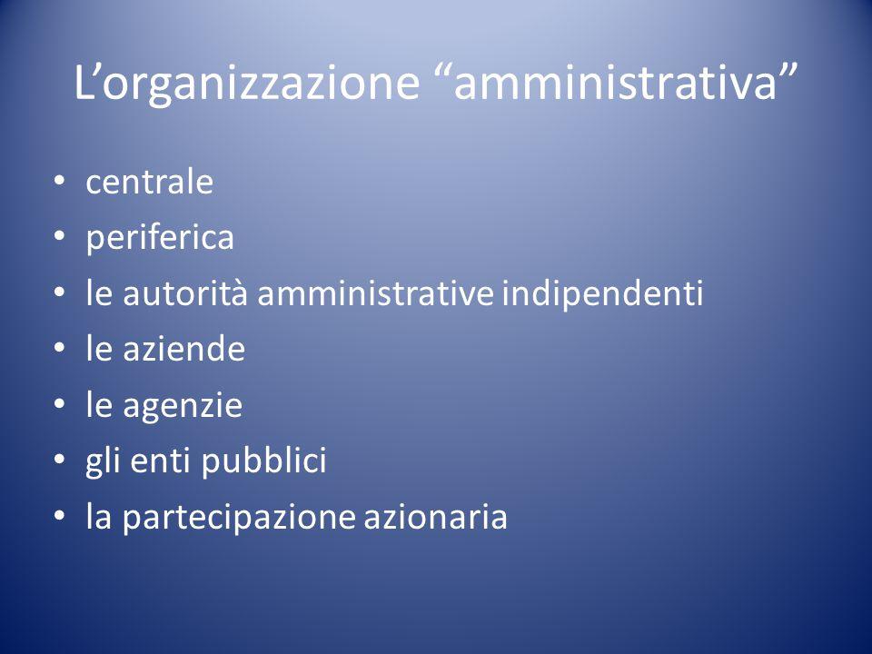 """L'organizzazione """"amministrativa"""" centrale periferica le autorità amministrative indipendenti le aziende le agenzie gli enti pubblici la partecipazion"""