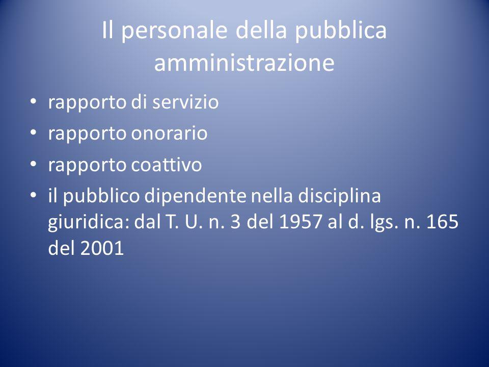 Il personale della pubblica amministrazione rapporto di servizio rapporto onorario rapporto coattivo il pubblico dipendente nella disciplina giuridica