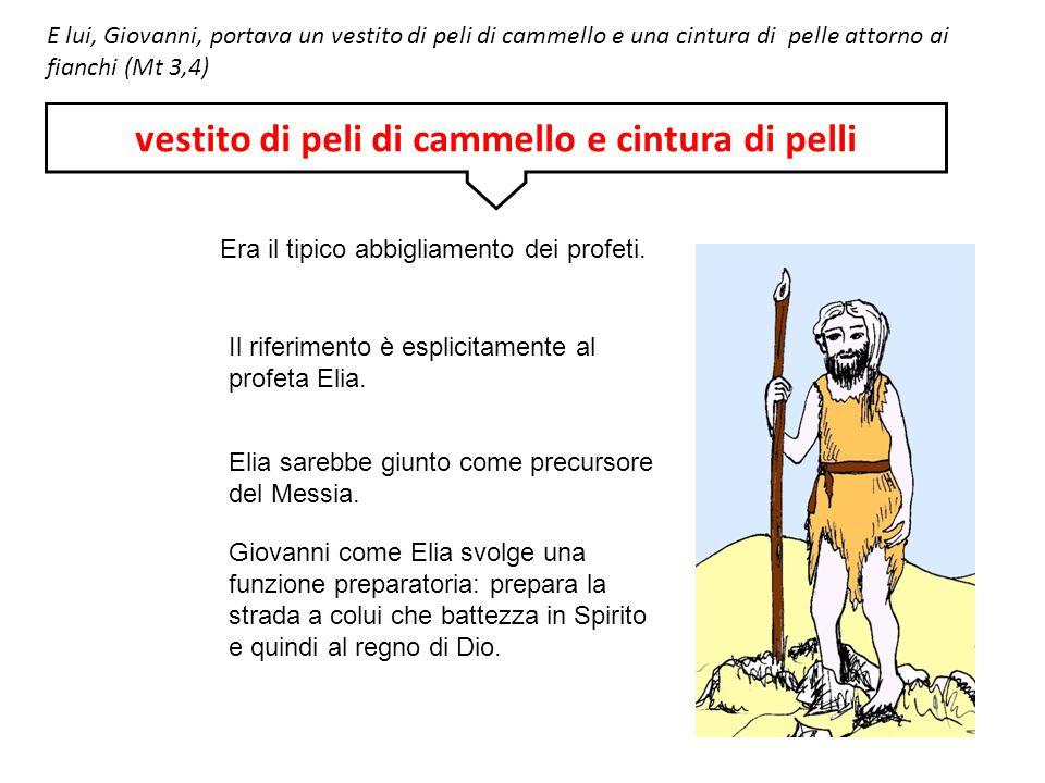 E lui, Giovanni, portava un vestito di peli di cammello e una cintura di pelle attorno ai fianchi (Mt 3,4) Era il tipico abbigliamento dei profeti. Il