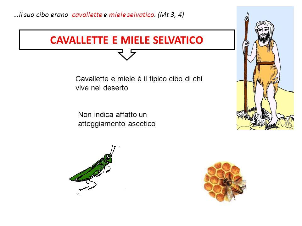 …il suo cibo erano cavallette e miele selvatico. (Mt 3, 4) Cavallette e miele è il tipico cibo di chi vive nel deserto Non indica affatto un atteggiam