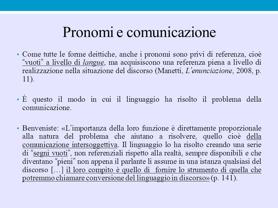 """Pronomi e comunicazione Come tutte le forme deittiche, anche i pronomi sono privi di referenza, cioè """"vuoti"""" a livello di langue, ma acquisiscono una"""