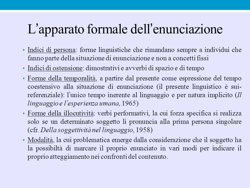 L'apparato formale dell'enunciazione Indici di persona: forme linguistiche che rimandano sempre a individui che fanno parte della situazione di enunci