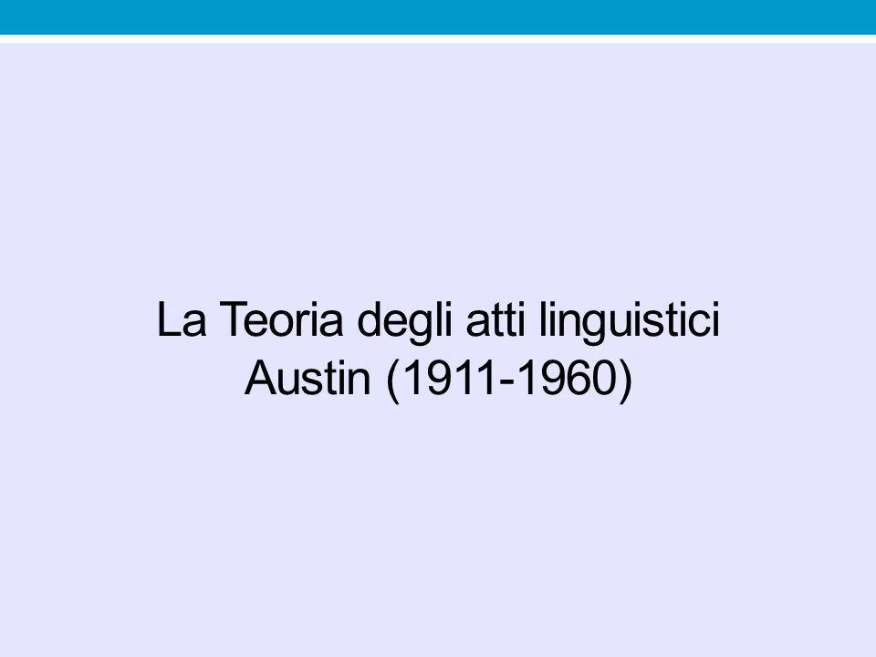 La Teoria degli atti linguistici Austin (1911-1960)