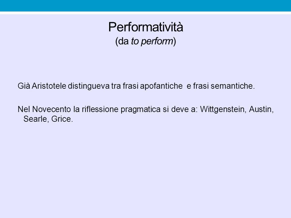 Performatività (da to perform) Già Aristotele distingueva tra frasi apofantiche e frasi semantiche. Nel Novecento la riflessione pragmatica si deve a: