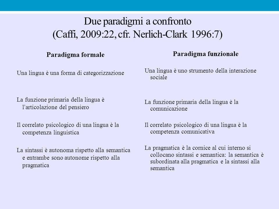Due paradigmi a confronto (Caffi, 2009:22, cfr. Nerlich-Clark 1996:7) Paradigma formale Una lingua è una forma di categorizzazione La funzione primari