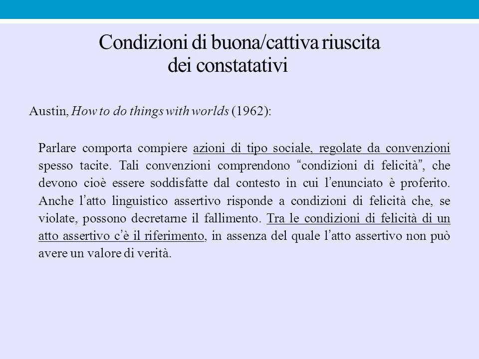 Condizioni di buona/cattiva riuscita dei constatativi Austin, How to do things with worlds (1962): Parlare comporta compiere azioni di tipo sociale, r