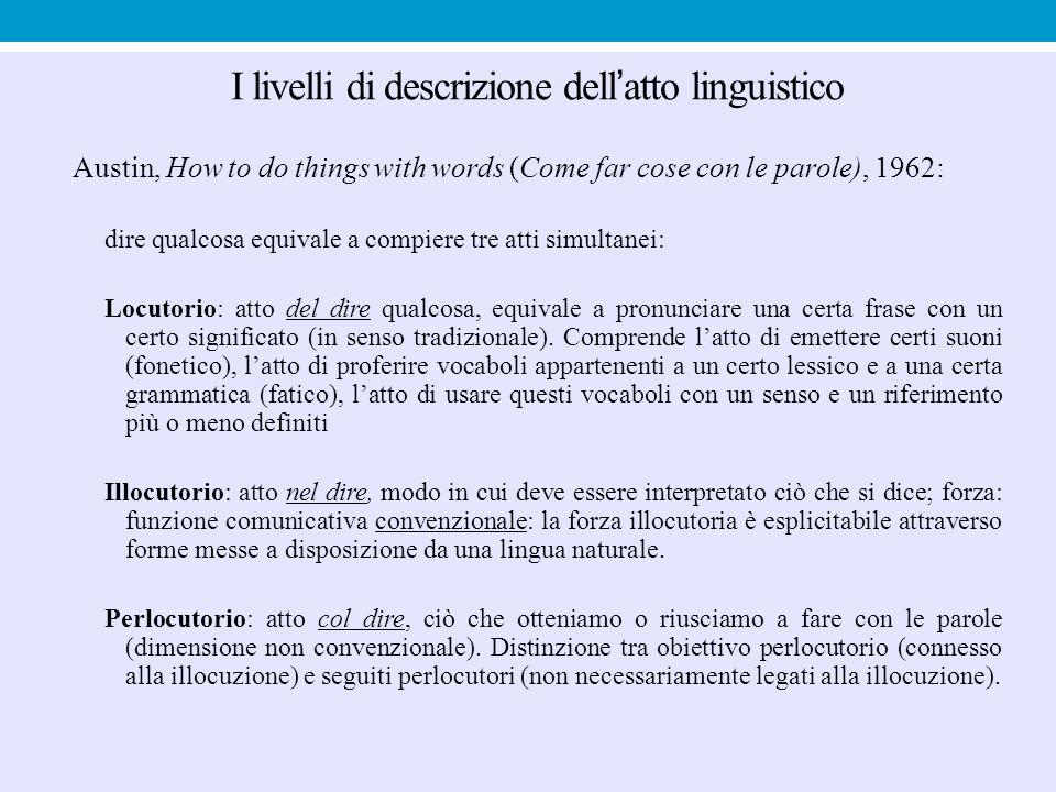 I livelli di descrizione dell'atto linguistico Austin, How to do things with words (Come far cose con le parole), 1962: dire qualcosa equivale a compi